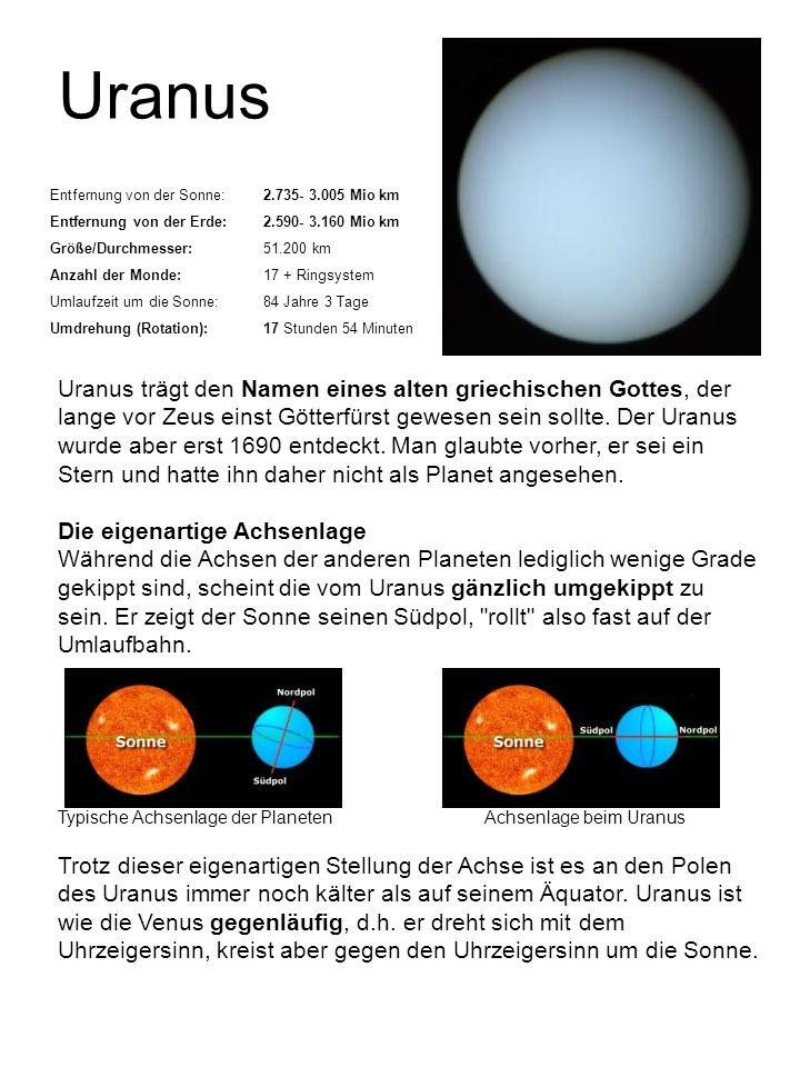 Uranus Entfernung von der Sonne:2.735- 3.005 Mio km Entfernung von der Erde:2.590- 3.160 Mio km Größe/Durchmesser:51.200 km Anzahl der Monde:17 + Ring