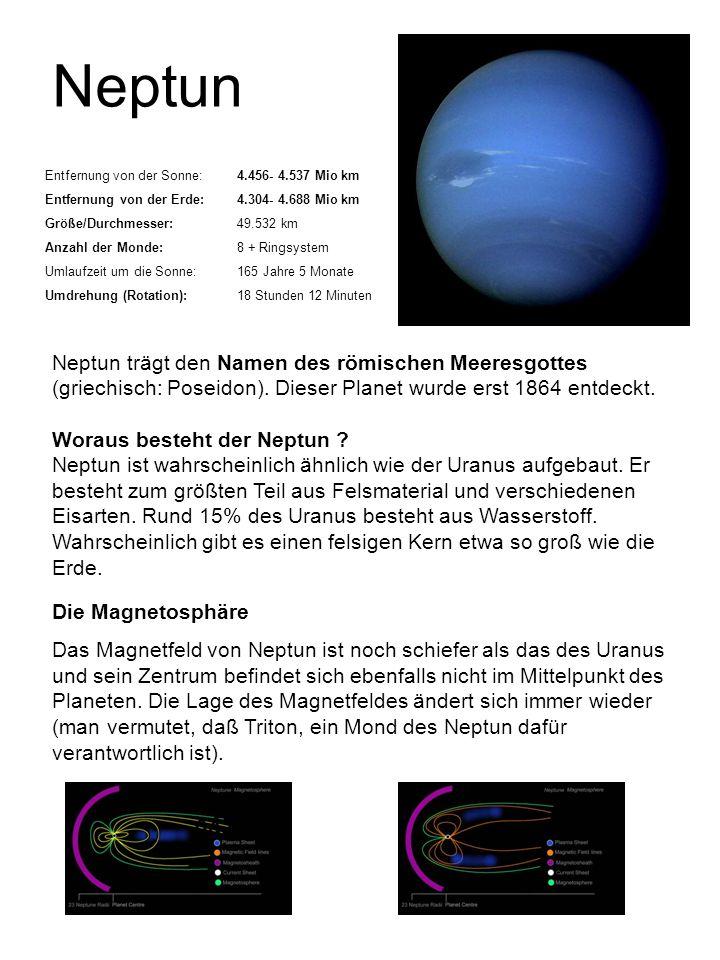 Neptun Entfernung von der Sonne:4.456- 4.537 Mio km Entfernung von der Erde:4.304- 4.688 Mio km Größe/Durchmesser:49.532 km Anzahl der Monde:8 + Rings
