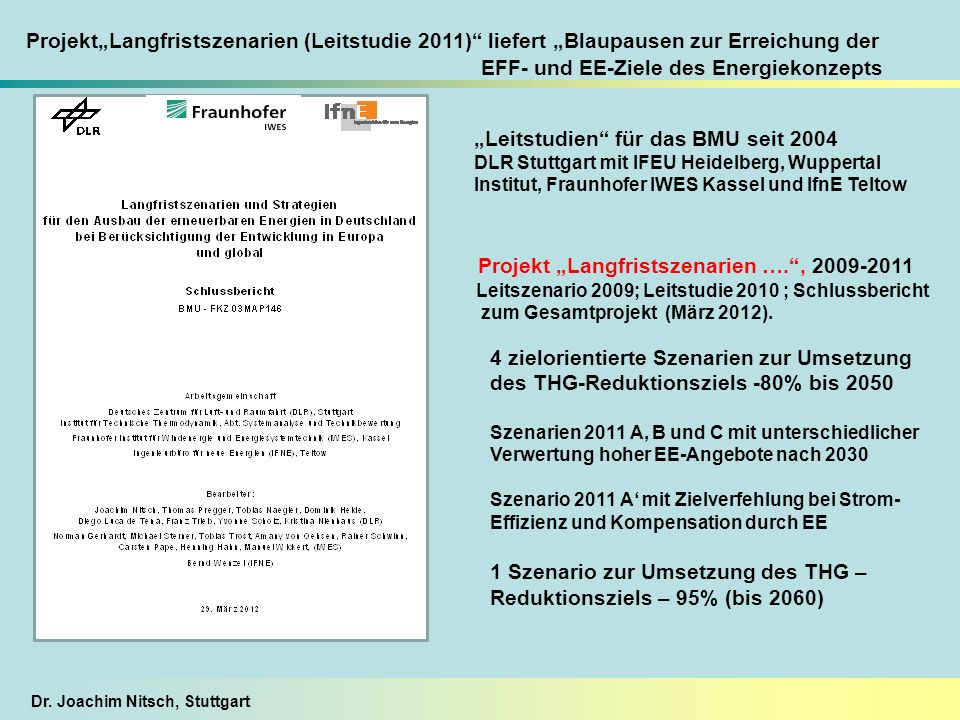 Dr. Joachim Nitsch, Stuttgart Leitstudien für das BMU seit 2004 DLR Stuttgart mit IFEU Heidelberg, Wuppertal Institut, Fraunhofer IWES Kassel und IfnE