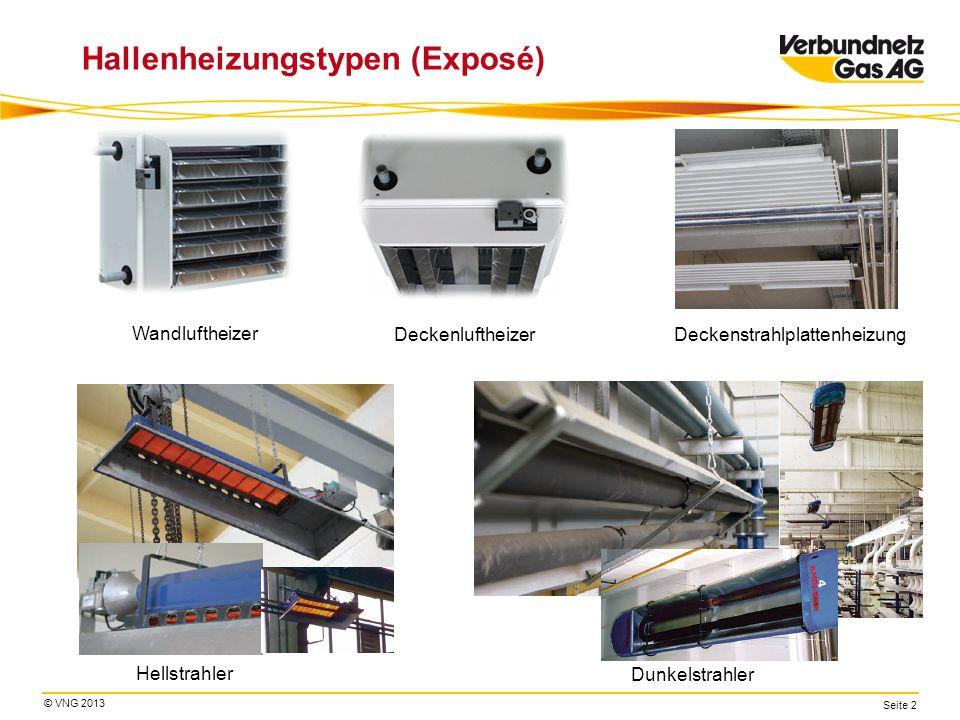 © VNG 2013 Seite 2 Hallenheizungstypen (Exposé) Wandluftheizer Deckenluftheizer Hellstrahler Dunkelstrahler Deckenstrahlplattenheizung