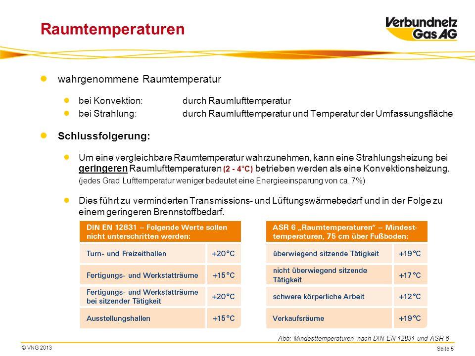 © VNG 2013 Seite 5 Raumtemperaturen wahrgenommene Raumtemperatur bei Konvektion: durch Raumlufttemperatur bei Strahlung: durch Raumlufttemperatur und