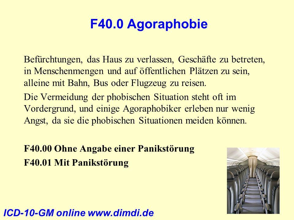 F40.0 Agoraphobie Befürchtungen, das Haus zu verlassen, Geschäfte zu betreten, in Menschenmengen und auf öffentlichen Plätzen zu sein, alleine mit Bah