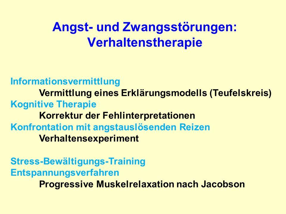 Angst- und Zwangsstörungen: Verhaltenstherapie Informationsvermittlung Vermittlung eines Erklärungsmodells (Teufelskreis) Kognitive Therapie Korrektur
