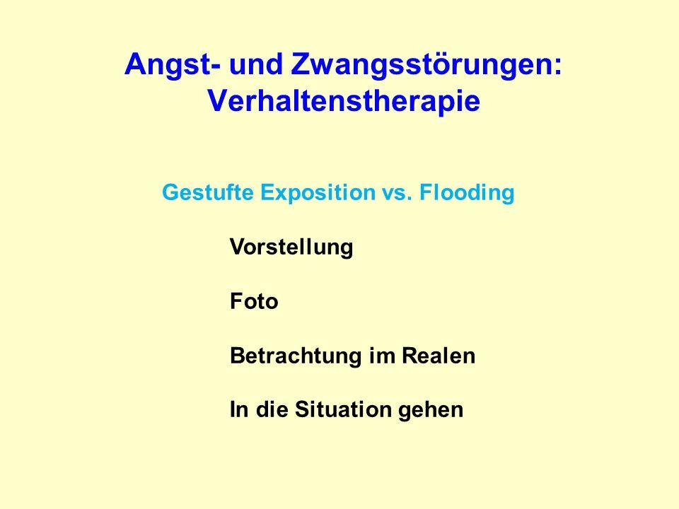 Angst- und Zwangsstörungen: Verhaltenstherapie Gestufte Exposition vs. Flooding Vorstellung Foto Betrachtung im Realen In die Situation gehen