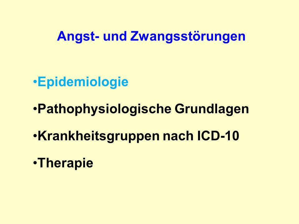 ICD-10 Angst- und Zwangsstörungen F40 Phobische Störung F40.0 Agoraphobie (mit oder ohne Panikstörung) F40.1 Soziale Phobien F40.2 Spezifische (isolierte) Phobien F 41 Andere Angststörungen F41.0 Panikstörungen F41.1 Generalisierte Angststörung F41.2 Angst und depressive Störung, gemischt F42 Zwangsstörung F42.0 vorwiegend Zwangsgednanken oder Grübelzwang F42.1 vorwiegend Zwangshandlungen (Zwangsrituale) F42.2.