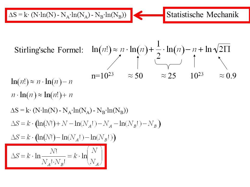 S = k· (N·ln(N) - N A ·ln(N A ) - N B ·ln(N B )) Statistische Mechanik Stirling sche Formel: n=10 23 50 2510 23 0.9 S = k· (N·ln(N) - N A ·ln(N A ) - N B ·ln(N B ))
