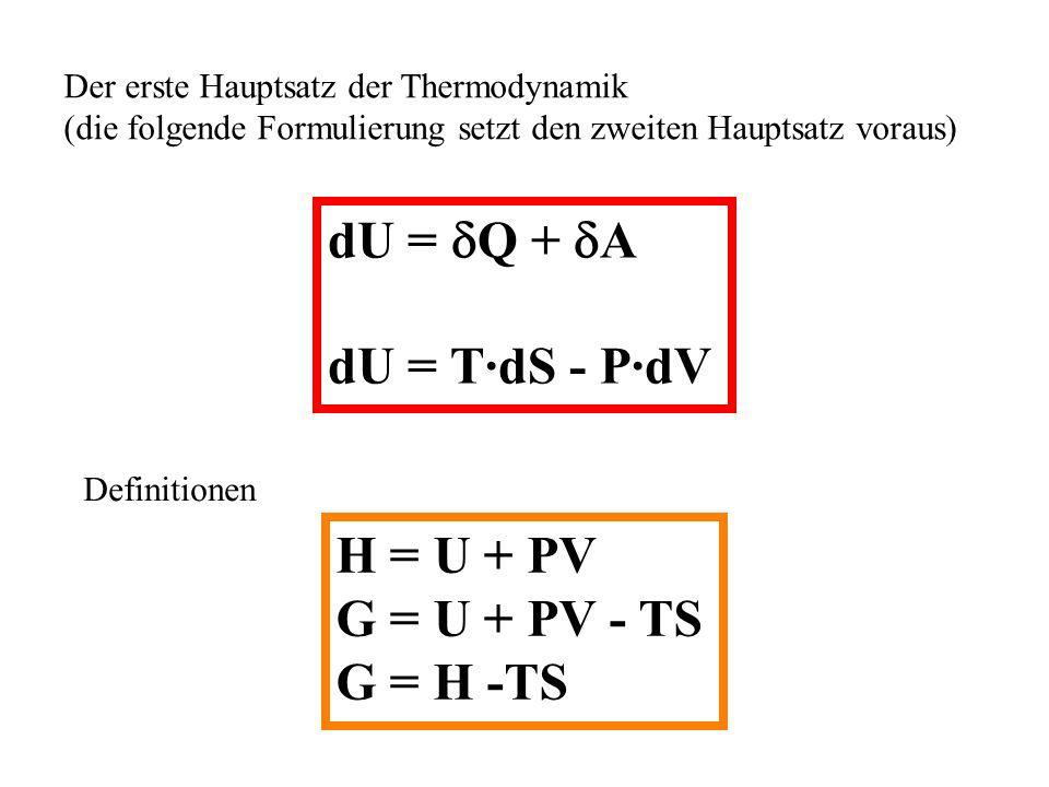 Der erste Hauptsatz der Thermodynamik (die folgende Formulierung setzt den zweiten Hauptsatz voraus) dU = Q + A dU = T·dS - P·dV Definitionen H = U + PV G = U + PV - TS G = H -TS