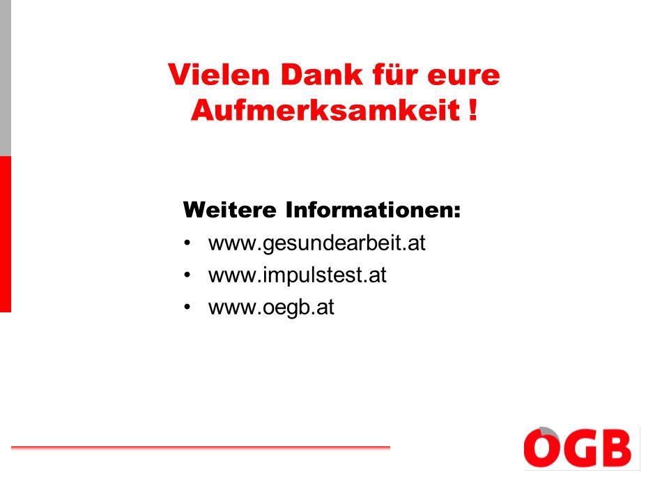 Vielen Dank für eure Aufmerksamkeit ! Weitere Informationen: www.gesundearbeit.at www.impulstest.at www.oegb.at