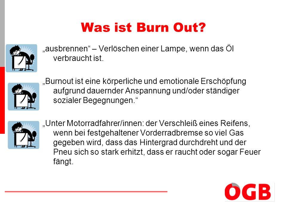Burn Out -Stufen 1.Anfangsphase: Überengagement Unentbehrlichkeit Verzicht auf Erholung 2.