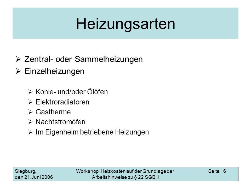 Workshop: Heizkosten auf der Grundlage der Arbeitshinweise zu § 22 SGB II Siegburg, den 21.Juni 2006 Seite 17 Beispiele Jahresabrechnungen Abrechnung der BFW vom 05.04.2004 So errechnen Sie die angemessenen Abschläge auf die voraussichtlichen Heizkosten 2006 Gesamtverbrauch für Brennstoff (Gas) 1573209.000 kWh Gesamtbrennstoffkosten 2003 61.628,29 Preis für Erdgas 2003 0,039 /kWh Preis für Erdgas 2006 0,055 /kWh Gesamtbrennstoffkosten ab 2006 1573209.000 kWh x 0,055 /kWh 86.526,50 plus Nebenkosten laut Abrechnung 67.691,31 – 61.628,29 (aufgerundet) 6.100,00 Gesamtheizkosten ab 2006 92.626,50