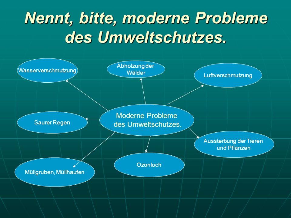 Nennt, bitte, moderne Probleme des Umweltschutzes. Moderne Probleme des Umweltschutzes. Wasserverschmutzung Saurer Regen Müllgruben, Müllhaufen Ozonlo