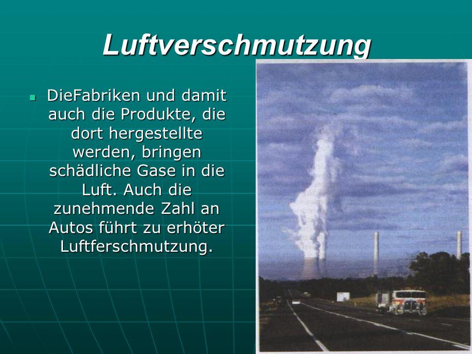 Luftverschmutzung DieFabriken und damit auch die Produkte, die dort hergestellte werden, bringen schädliche Gase in die Luft. Auch die zunehmende Zahl