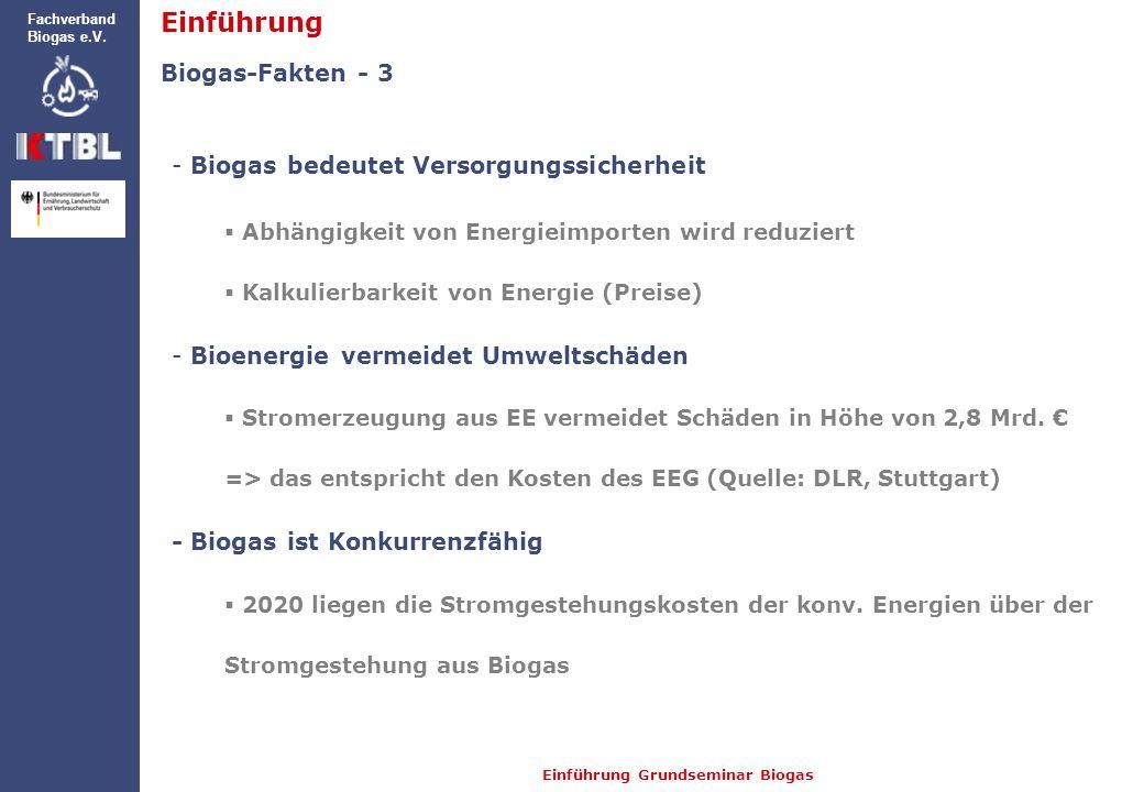 Einführung Grundseminar Biogas Fachverband Biogas e.V. Biogas-Fakten - 3 - Biogas bedeutet Versorgungssicherheit Abhängigkeit von Energieimporten wird