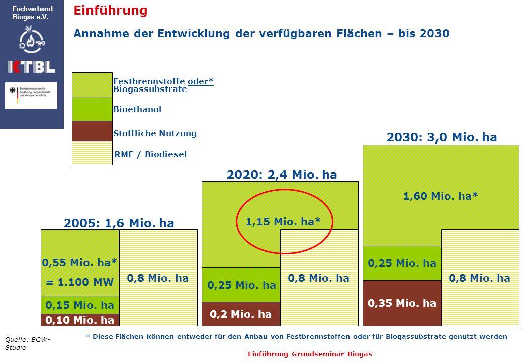 Einführung Grundseminar Biogas Fachverband Biogas e.V. 2005: 1,6 Mio. ha 0,10 Mio. ha 0,15 Mio. ha 0,8 Mio. ha 0,55 Mio. ha* Festbrennstoffe oder* Bio