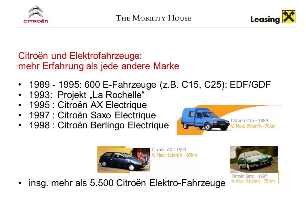 Citroën und Elektrofahrzeuge: mehr Erfahrung als jede andere Marke 1989 - 1995: 600 E-Fahrzeuge (z.B. C15, C25): EDF/GDF 1993: Projekt La Rochelle 199