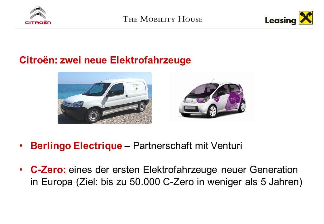 Citroën: zwei neue Elektrofahrzeuge Berlingo Electrique – Partnerschaft mit Venturi C-Zero: eines der ersten Elektrofahrzeuge neuer Generation in Euro