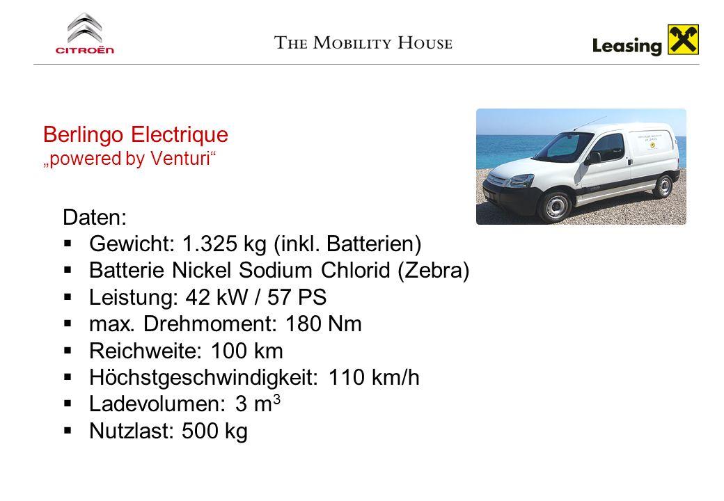Berlingo Electrique powered by Venturi Daten: Gewicht: 1.325 kg (inkl. Batterien) Batterie Nickel Sodium Chlorid (Zebra) Leistung: 42 kW / 57 PS max.