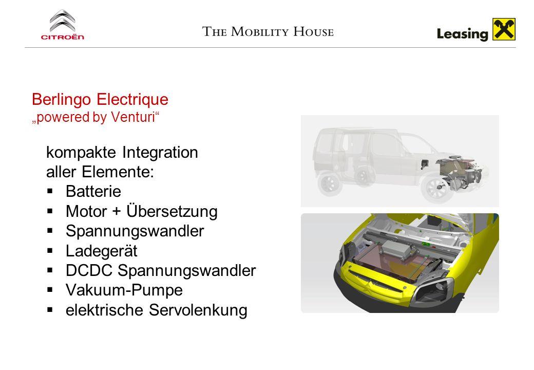 Berlingo Electrique powered by Venturi kompakte Integration aller Elemente: Batterie Motor + Übersetzung Spannungswandler Ladegerät DCDC Spannungswand