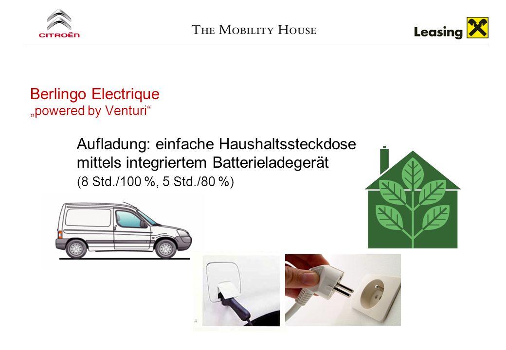 Berlingo Electrique powered by Venturi Aufladung: einfache Haushaltssteckdose mittels integriertem Batterieladegerät (8 Std./100 %, 5 Std./80 %)