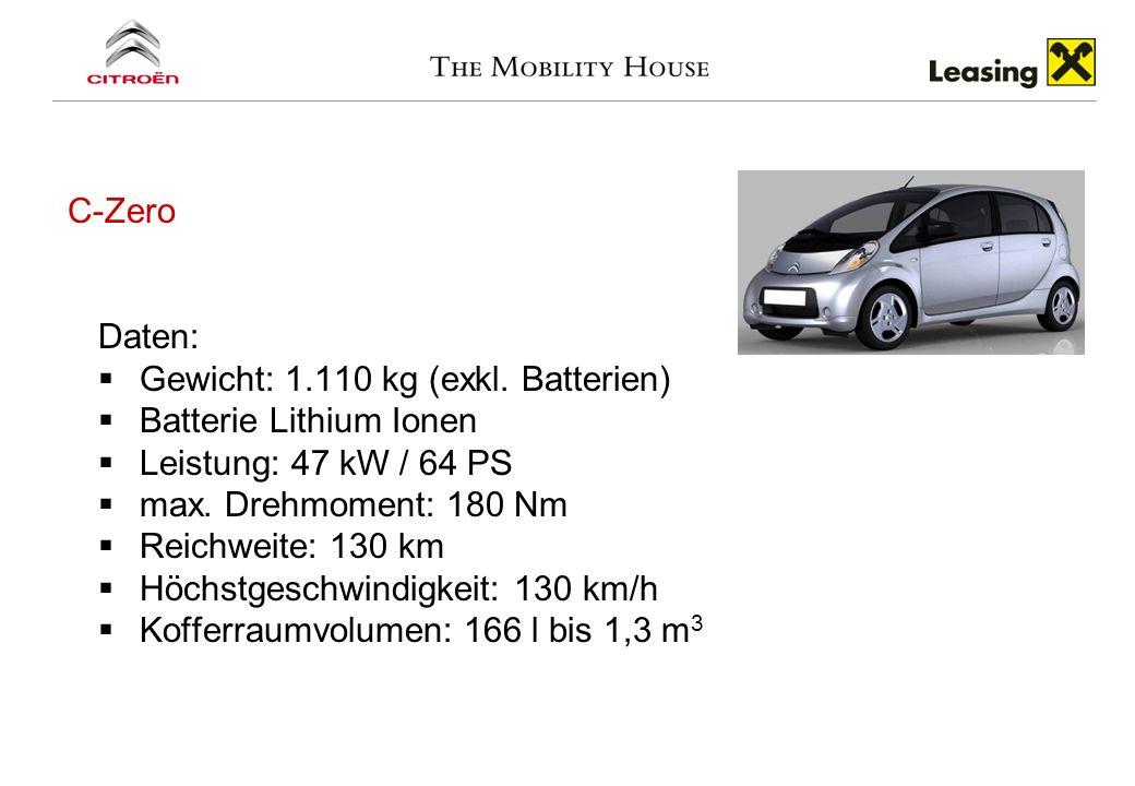 C-Zero Daten: Gewicht: 1.110 kg (exkl. Batterien) Batterie Lithium Ionen Leistung: 47 kW / 64 PS max. Drehmoment: 180 Nm Reichweite: 130 km Höchstgesc