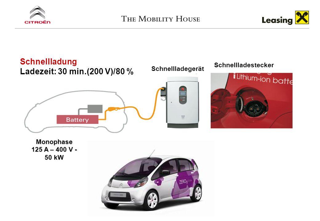 Monophase 125 A – 400 V - 50 kW Schnellladegerät Schnellladestecker Schnellladung Ladezeit: 30 min.(200 V)/80 %