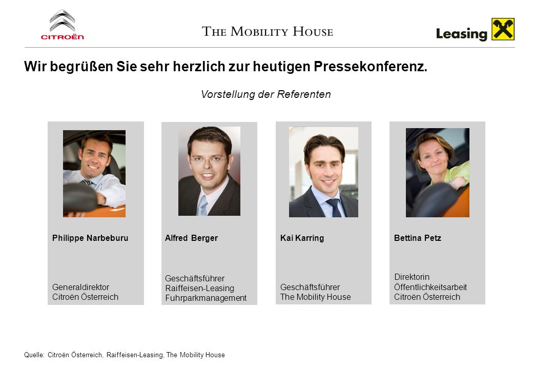 Wir begrüßen Sie sehr herzlich zur heutigen Pressekonferenz. Vorstellung der Referenten Quelle: Citroёn Österreich, Raiffeisen-Leasing, The Mobility H