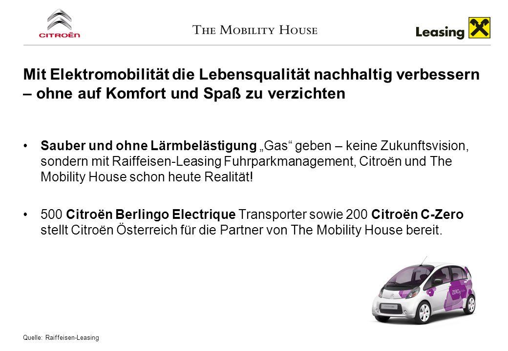 Sauber und ohne Lärmbelästigung Gas geben – keine Zukunftsvision, sondern mit Raiffeisen-Leasing Fuhrparkmanagement, Citroën und The Mobility House sc