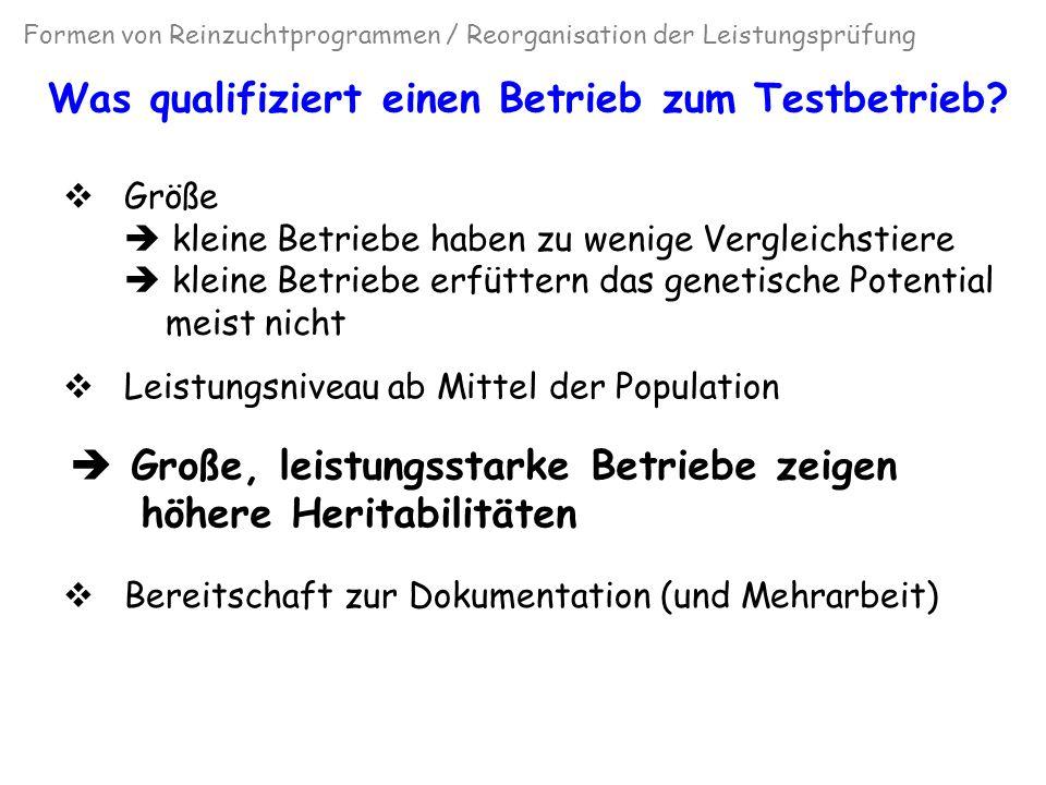 Streuung der Kuhzuchtwerte, geschichtet nach Milchleistungs- und Herdengrößenklasse (Höver und Swalve, 2005; unveröffentl.) Formen von Reinzuchtprogrammen / Reorganisation der Leistungsprüfung
