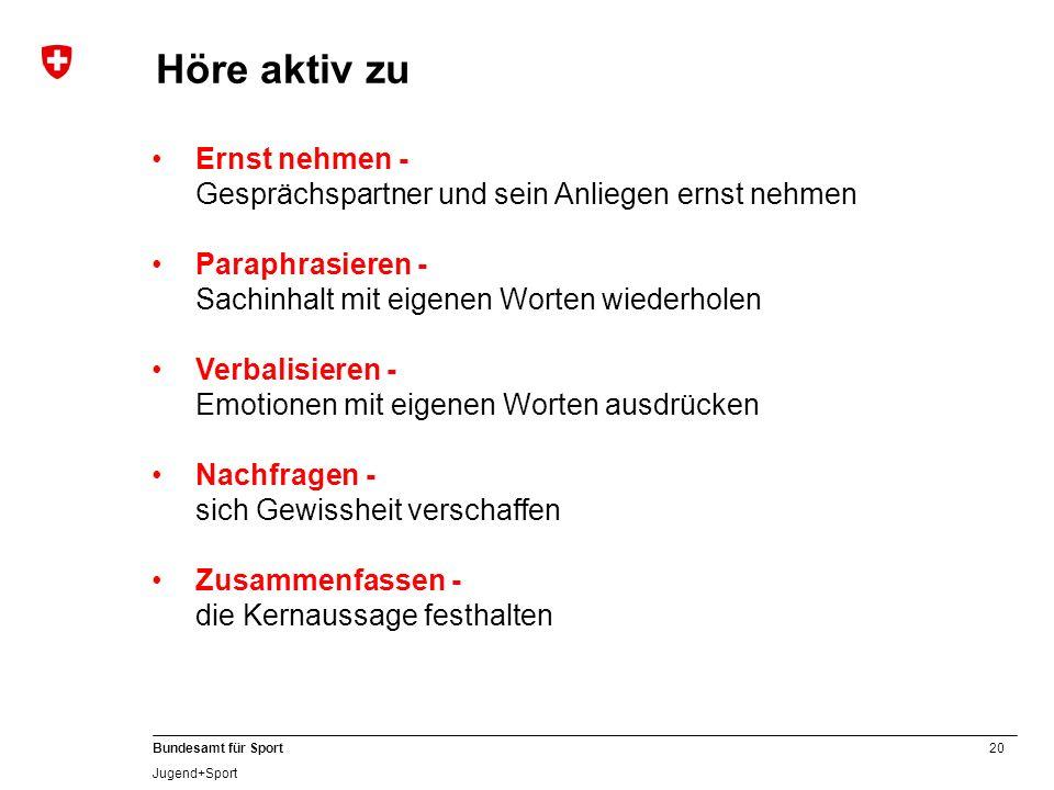 20 Bundesamt für Sport Jugend+Sport Ernst nehmen - Gesprächspartner und sein Anliegen ernst nehmen Paraphrasieren - Sachinhalt mit eigenen Worten wied