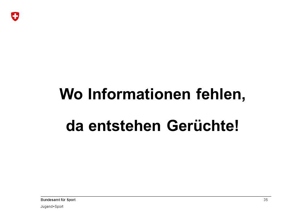 35 Bundesamt für Sport Jugend+Sport Wo Informationen fehlen, da entstehen Gerüchte!