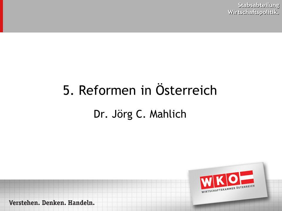 Stabsabteilung Wirtschaftspolitik. 5. Reformen in Österreich Dr. Jörg C. Mahlich
