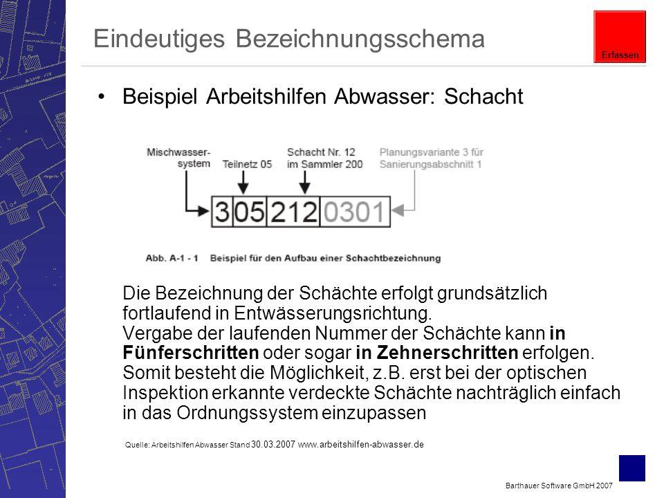 Barthauer Software GmbH 2007 Eindeutiges Bezeichnungsschema Beispiel Arbeitshilfen Abwasser: Schacht Die Bezeichnung der Schächte erfolgt grundsätzlich fortlaufend in Entwässerungsrichtung.