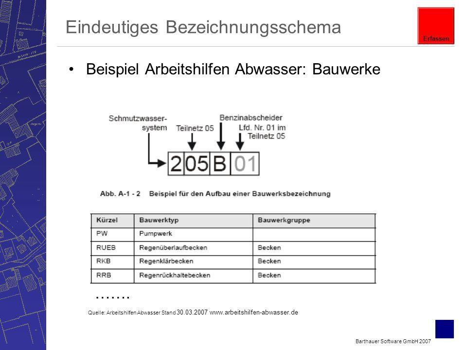Barthauer Software GmbH 2007 Eindeutiges Bezeichnungsschema Beispiel Arbeitshilfen Abwasser: Bauwerke …….