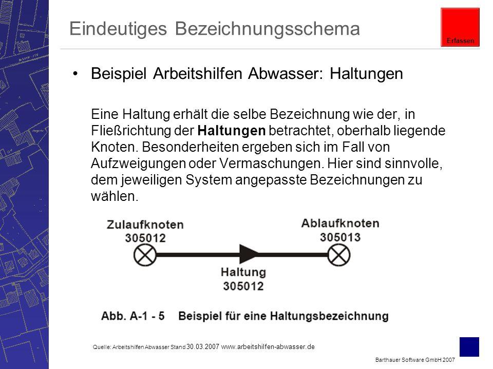 Barthauer Software GmbH 2007 Eindeutiges Bezeichnungsschema Beispiel Arbeitshilfen Abwasser: Haltungen Eine Haltung erhält die selbe Bezeichnung wie der, in Fließrichtung der Haltungen betrachtet, oberhalb liegende Knoten.