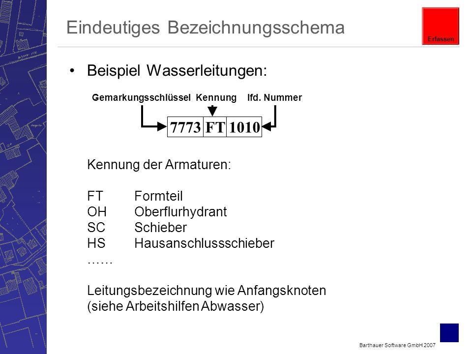 Barthauer Software GmbH 2007 Eindeutiges Bezeichnungsschema Beispiel Wasserleitungen: GemarkungsschlüsselKennunglfd.