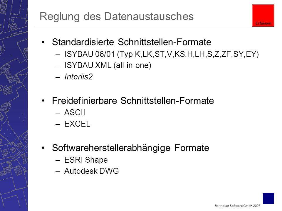 Barthauer Software GmbH 2007 Reglung des Datenaustausches Standardisierte Schnittstellen-Formate –ISYBAU 06/01 (Typ K,LK,ST,V,KS,H,LH,S,Z,ZF,SY,EY) –ISYBAU XML (all-in-one) –Interlis2 Freidefinierbare Schnittstellen-Formate –ASCII –EXCEL Softwareherstellerabhängige Formate –ESRI Shape –Autodesk DWG Erfassen