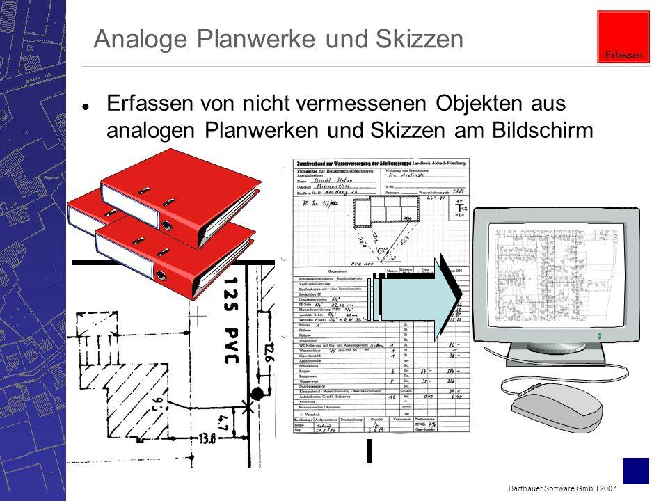 Barthauer Software GmbH 2007 l Erfassen von nicht vermessenen Objekten aus analogen Planwerken und Skizzen am Bildschirm Analoge Planwerke und Skizzen Erfassen