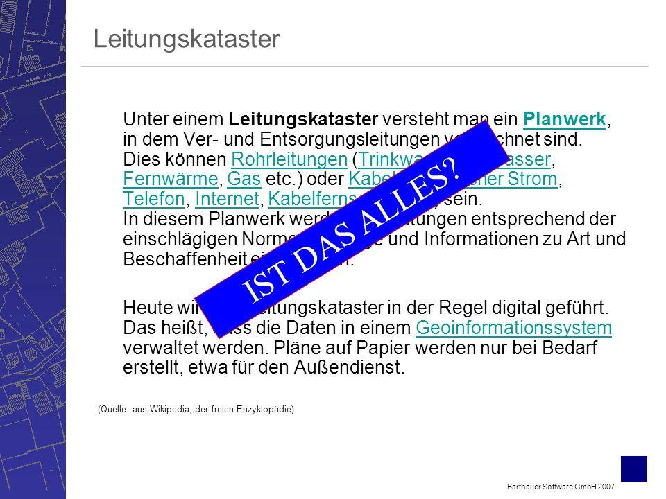 Barthauer Software GmbH 2007 Leitungskataster Unter einem Leitungskataster versteht man ein Planwerk, in dem Ver- und Entsorgungsleitungen verzeichnet sind.