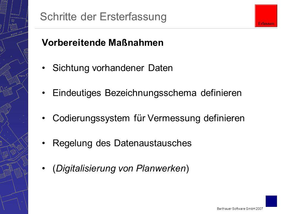 Barthauer Software GmbH 2007 Schritte der Ersterfassung Vorbereitende Maßnahmen Sichtung vorhandener Daten Eindeutiges Bezeichnungsschema definieren Codierungssystem für Vermessung definieren Regelung des Datenaustausches (Digitalisierung von Planwerken) Erfassen