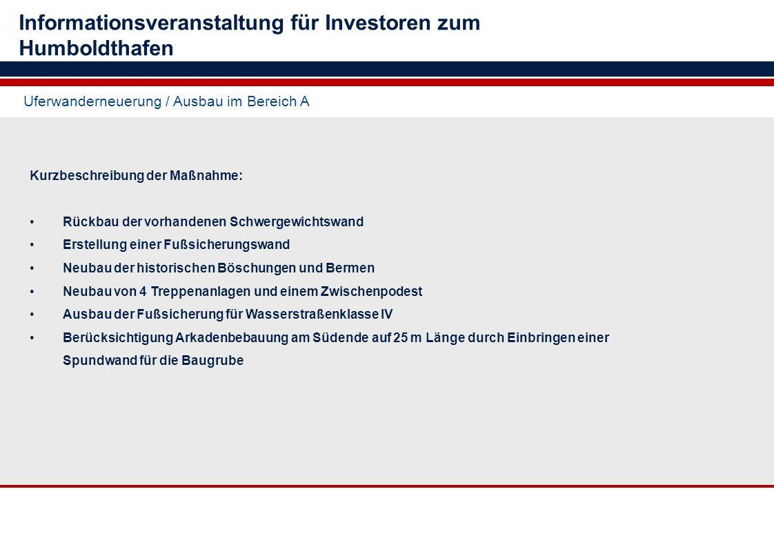 Uferwanderneuerung / Ausbau im Bereich A Informationsveranstaltung für Investoren zum Humboldthafen Kurzbeschreibung der Maßnahme: Rückbau der vorhand