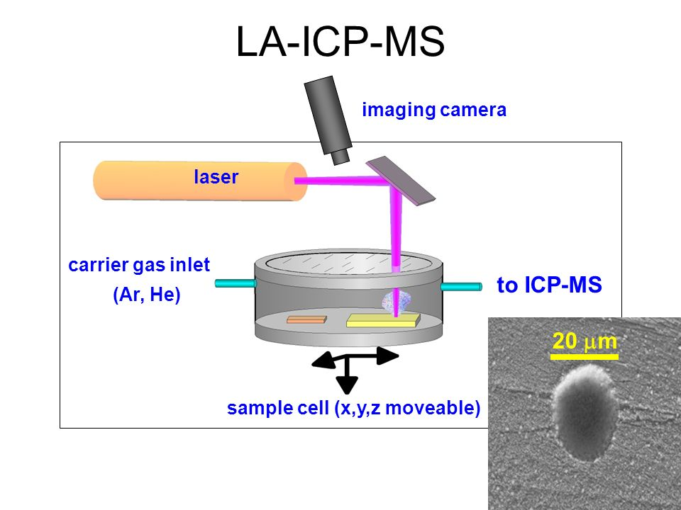 laser sample cell (x,y,z moveable) carrier gas inlet (Ar, He) to ICP-MS imaging camera LA-ICP-MS 20 m