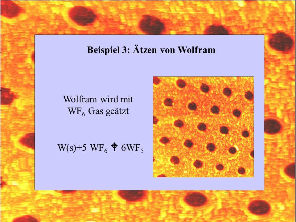 Beispiel 3: Ätzen von Wolfram W(s)+5 WF 6 6WF 5 Wolfram wird mit WF 6 Gas geätzt