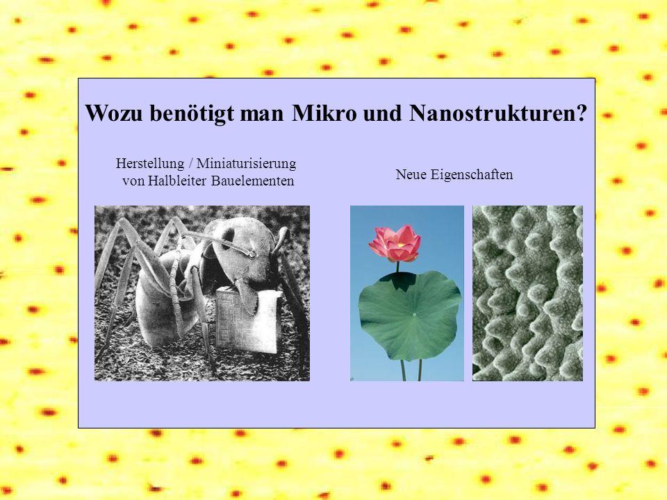 Wozu benötigt man Mikro und Nanostrukturen? Herstellung / Miniaturisierung von Halbleiter Bauelementen Neue Eigenschaften