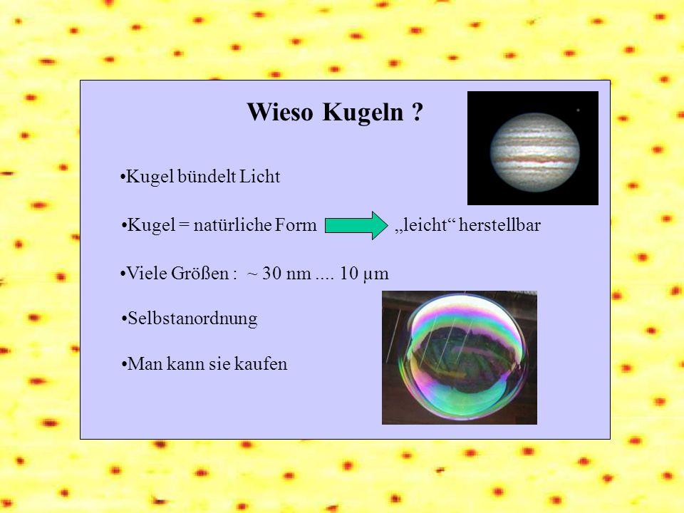 Wieso Kugeln ? Kugel = natürliche Form Man kann sie kaufen leicht herstellbar Kugel bündelt Licht Viele Größen : ~ 30 nm.... 10 µm Selbstanordnung