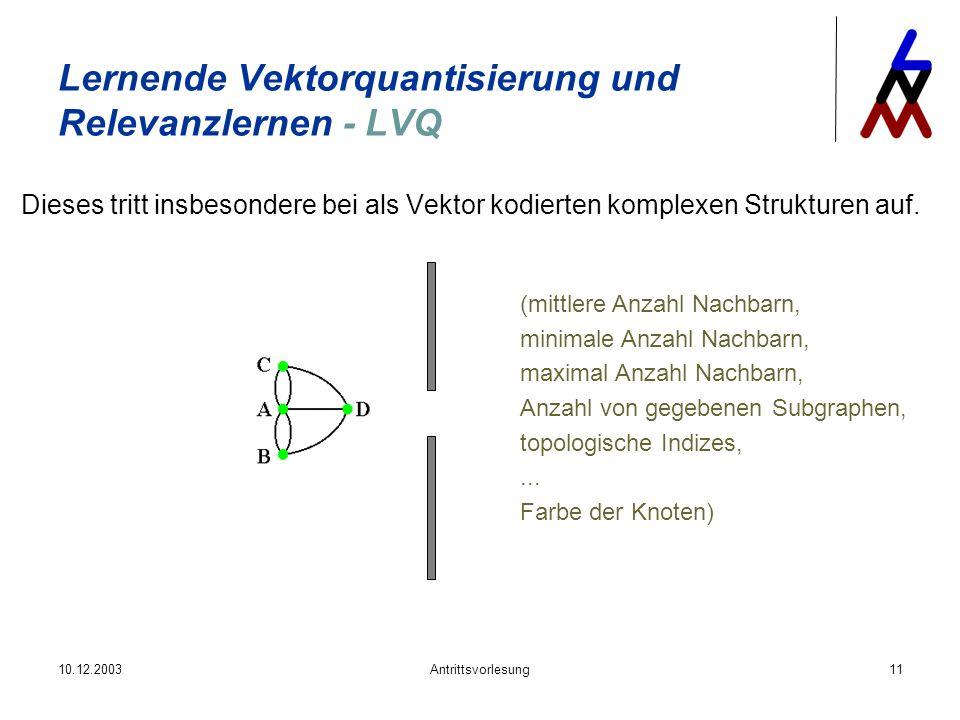 10.12.2003Antrittsvorlesung11 Lernende Vektorquantisierung und Relevanzlernen - LVQ Dieses tritt insbesondere bei als Vektor kodierten komplexen Struk
