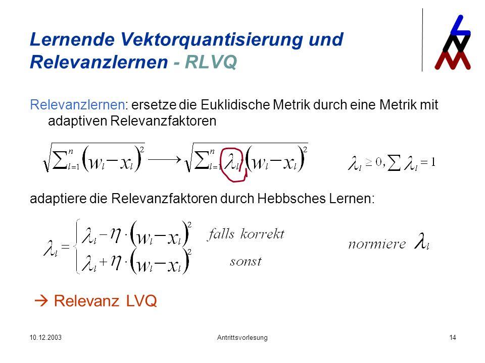 10.12.2003Antrittsvorlesung14 Relevanzlernen: ersetze die Euklidische Metrik durch eine Metrik mit adaptiven Relevanzfaktoren adaptiere die Relevanzfa