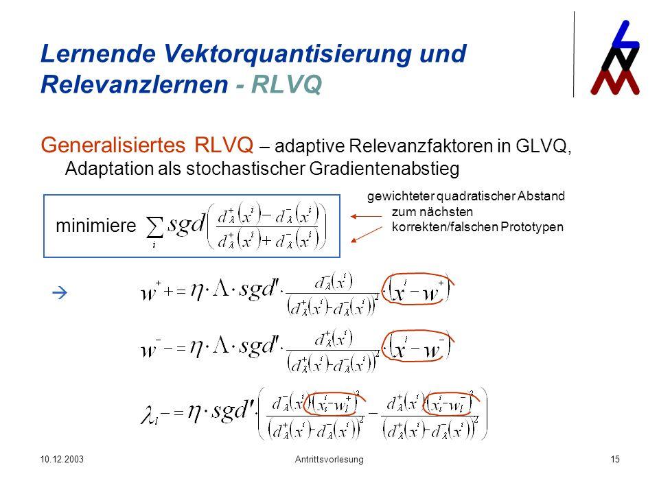 10.12.2003Antrittsvorlesung15 Generalisiertes RLVQ – adaptive Relevanzfaktoren in GLVQ, Adaptation als stochastischer Gradientenabstieg Lernende Vekto