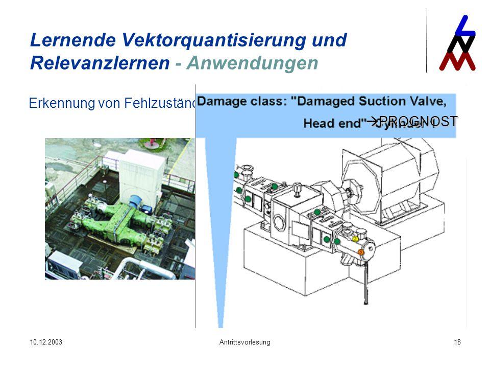 10.12.2003Antrittsvorlesung18 Lernende Vektorquantisierung und Relevanzlernen - Anwendungen Erkennung von Fehlzuständen bei Kolbenmaschinen PROGNOST P