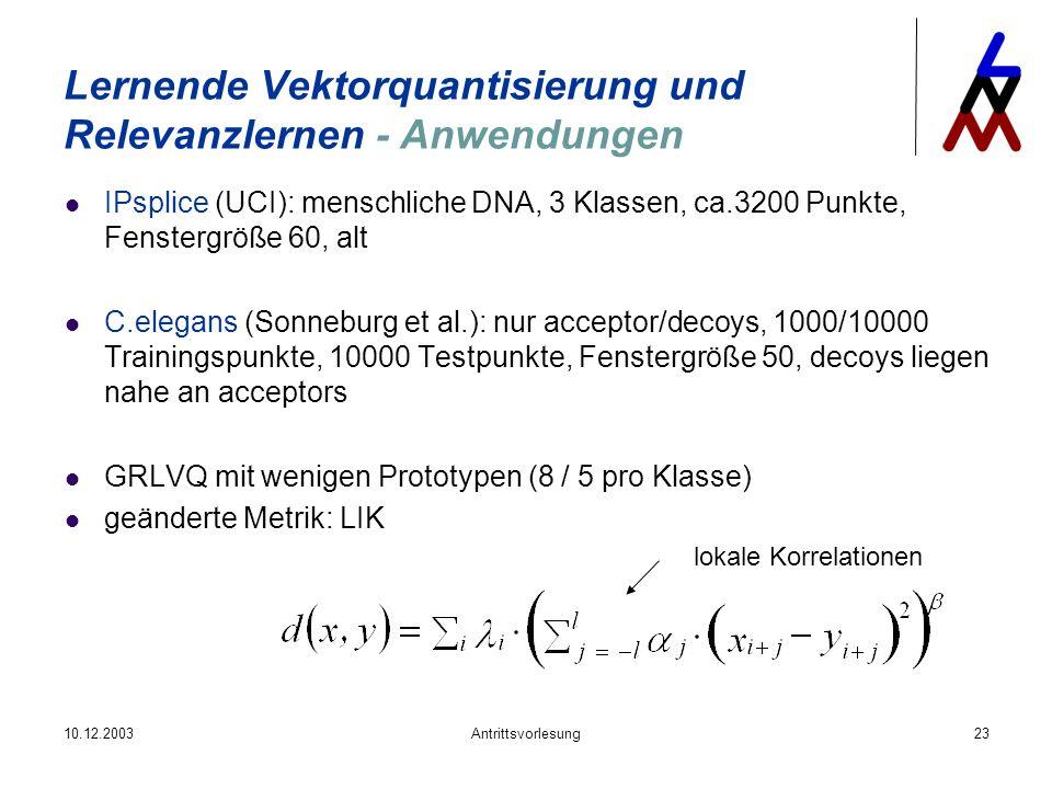 10.12.2003Antrittsvorlesung23 IPsplice (UCI): menschliche DNA, 3 Klassen, ca.3200 Punkte, Fenstergröße 60, alt C.elegans (Sonneburg et al.): nur accep