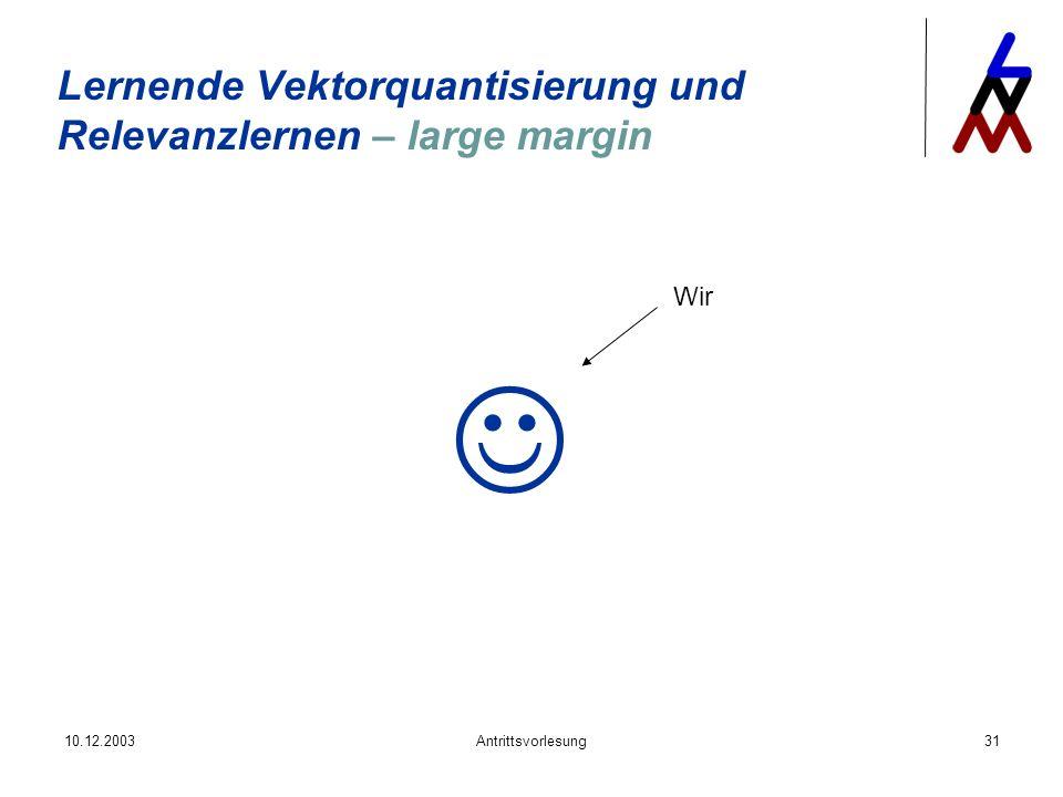 10.12.2003Antrittsvorlesung31 Lernende Vektorquantisierung und Relevanzlernen – large margin Wir